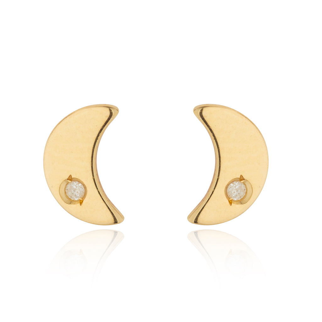 9kt Gold Moon Studs with Diamond - MoMuse Jewellery