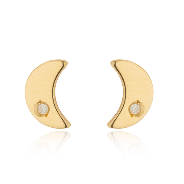 9kt Gold Moon Studs with Diamond