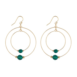 14kt Gold Filled Emerald Green Swarovski Globe Double Hoops