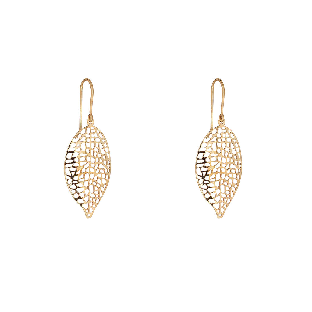 9kt Gold Leaf Drop Earring - MoMuse Jewellery