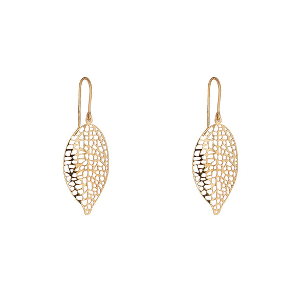 9kt Gold Leaf Drop Earring