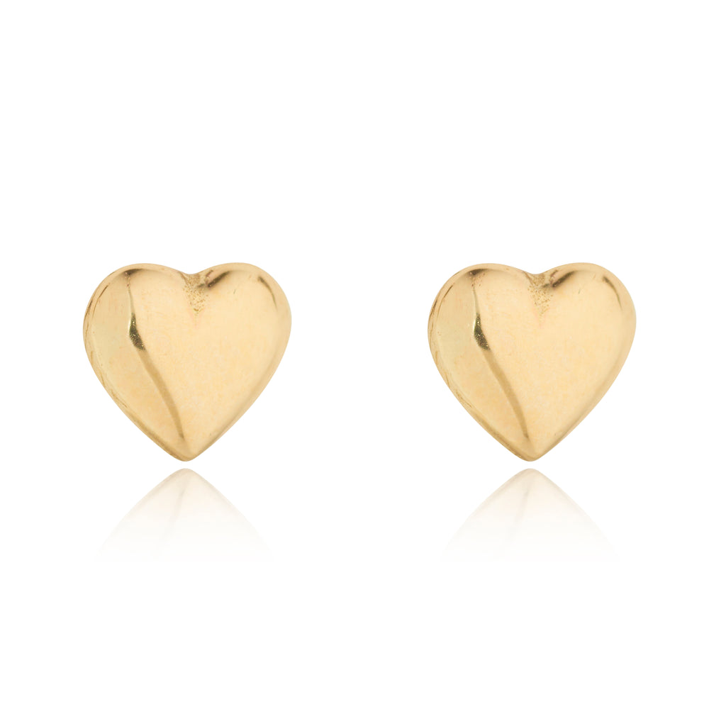 9kt Gold Heart Studs - MoMuse Jewellery
