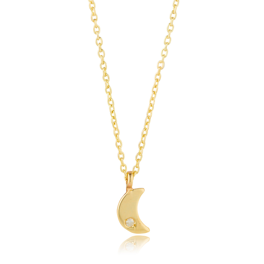 9kt Gold Moon with Diamond Necklace