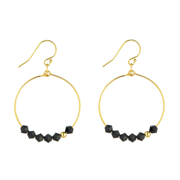 14kt Gold Filled Black Crystal Row Hoop Earrings