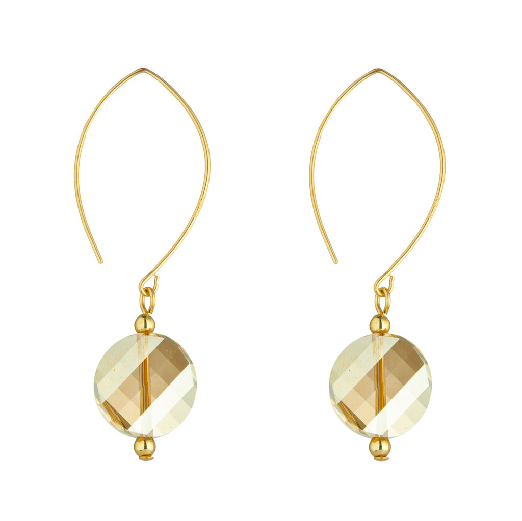 14kt Gold Filled Golden Shadow Swarovski Crystal Oval Earrings - MoMuse Jewellery