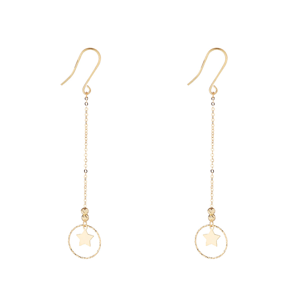 9kt Gold Star & Circle Chain Earrings - MoMuse Jewellery