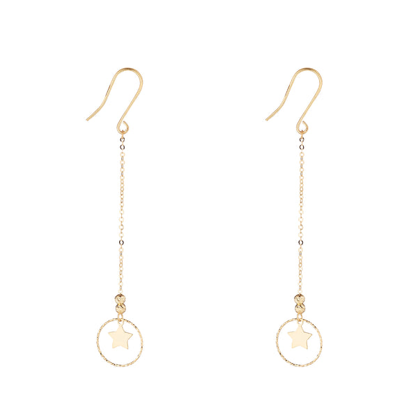 9kt Gold Star & Circle Chain Earrings