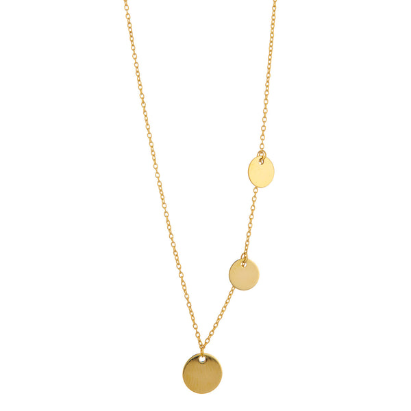 9kt Gold 3 Discs Necklace