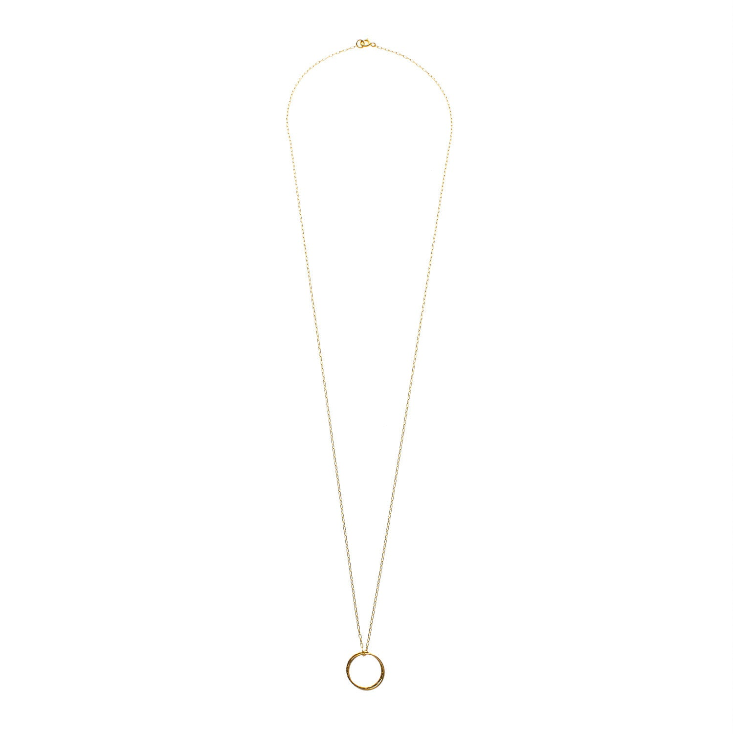 14kt Long Gold Filled Chain with Fused Circle - MoMuse Jewellery