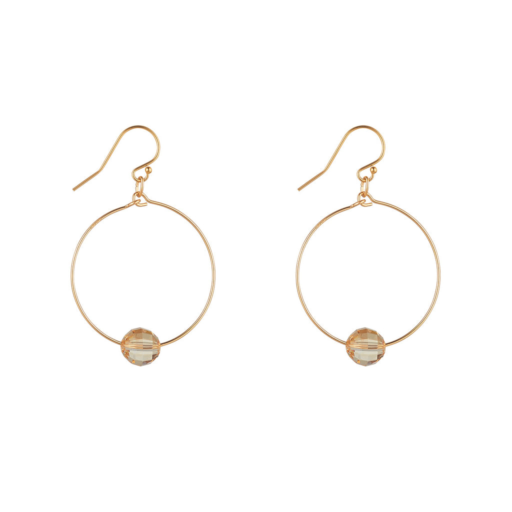 14kt Gold Filled Small Hoop Earrings with Golden Shadow Chessboard Swarovski - MoMuse Jewellery