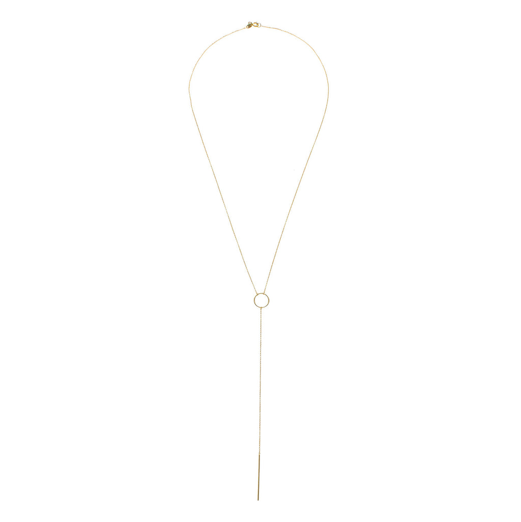 9kt Gold Circle T-Bar Necklace - MoMuse Jewellery