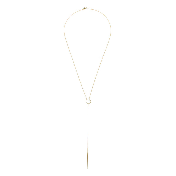 9kt Gold Circle T-Bar Necklace