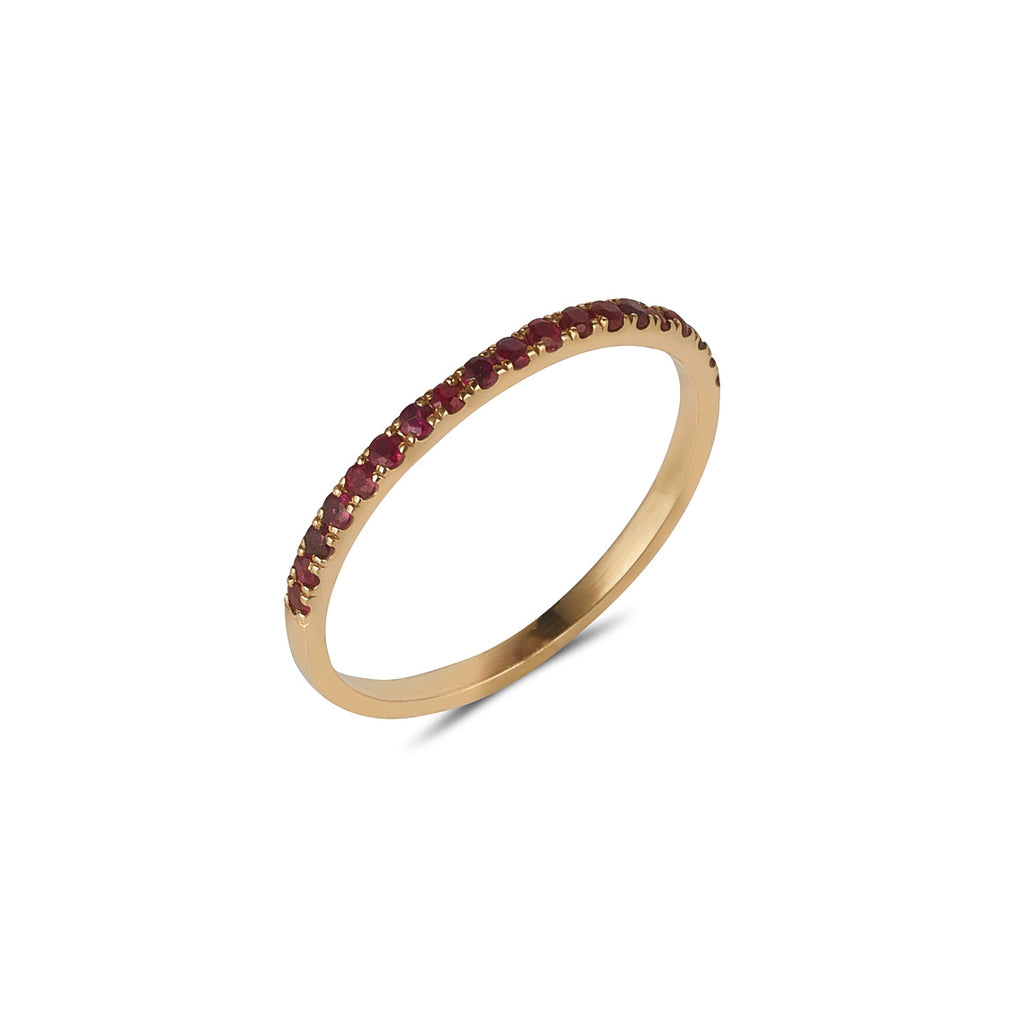 9kt Gold 19 Ruby Diamond Band - MoMuse Jewellery