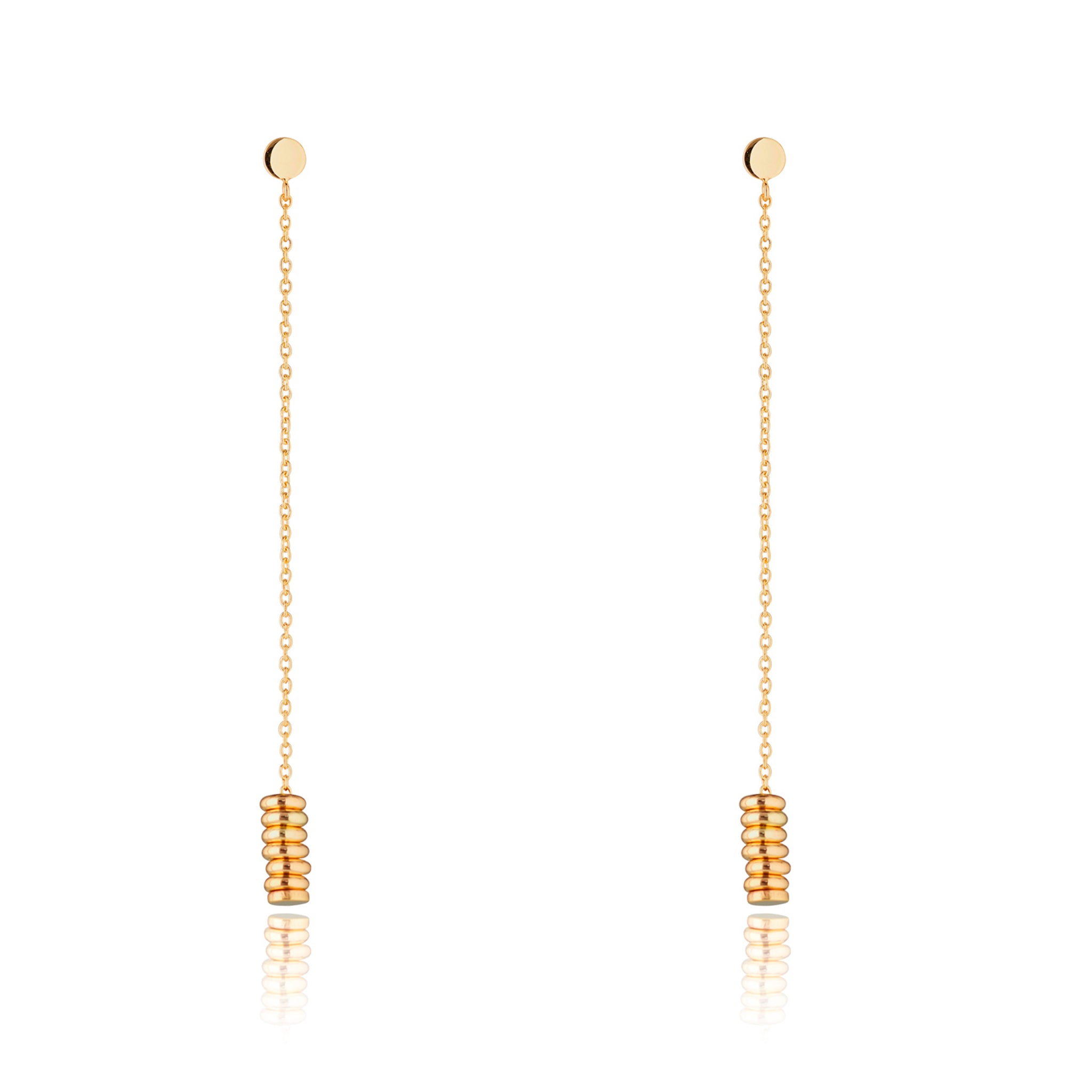 9kt Gold Chain Earrings with Multiple Circles - MoMuse Jewellery