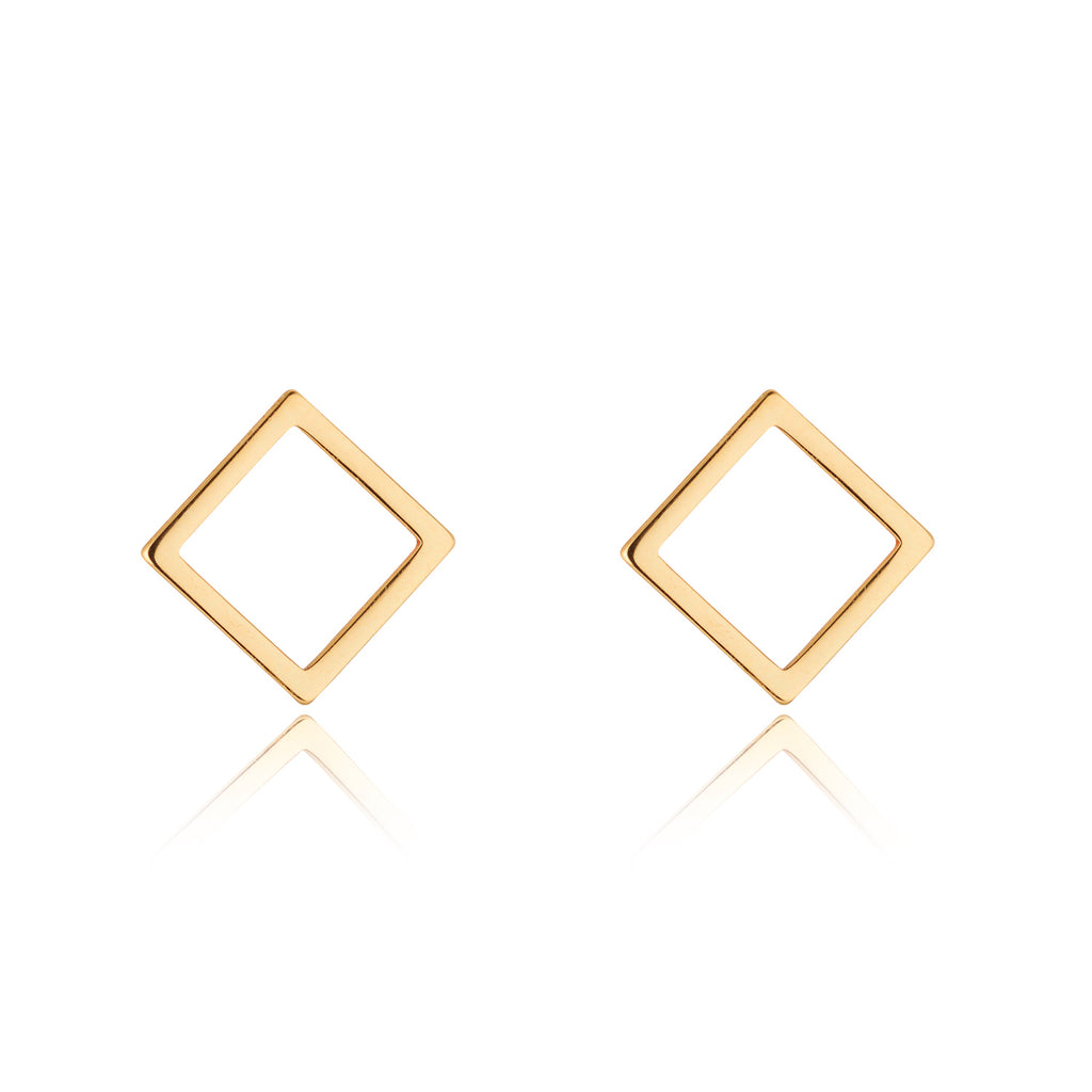 9kt Gold Square Stud Earrings - MoMuse Jewellery