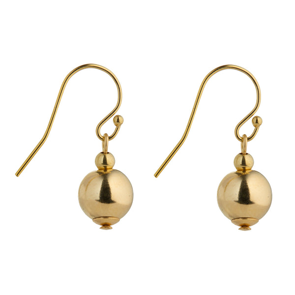 Petite Gold Ball Drop Earrings