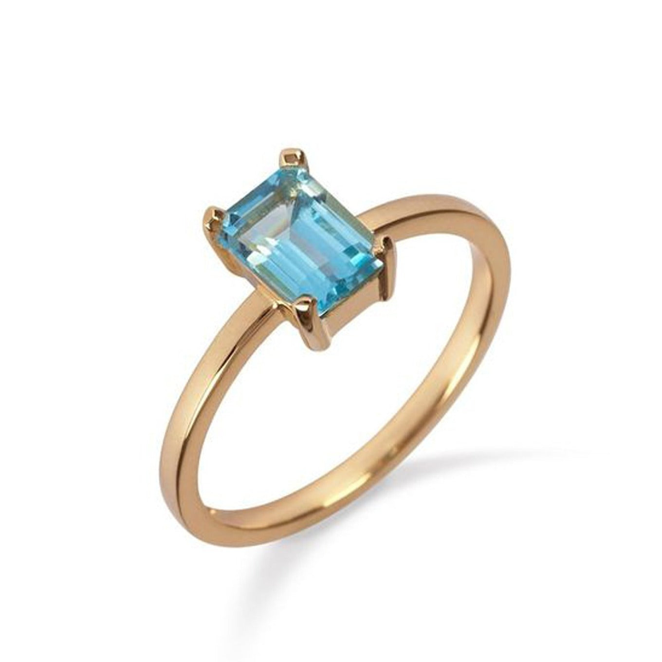 18kt Yellow Gold Ring with Blue Topaz - MoMuse Jewellery