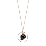 Load image into Gallery viewer, 14kt Gold Filled Black Skull Long Pendant