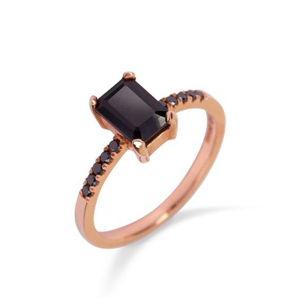 9kt Rose Gold Ring with Black Onyx and Black Diamonds - MoMuse Jewellery