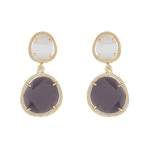 Monochrome Glass Double Drop Earrings