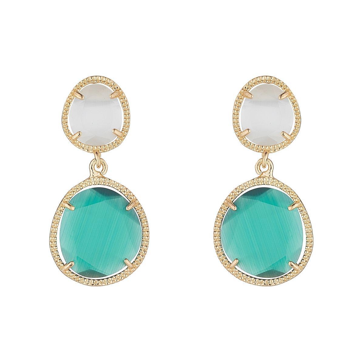 Emerald Green Glass Double Drop Earrings