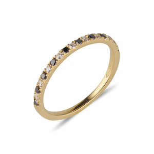 18kt Gold Black and White Diamond Band