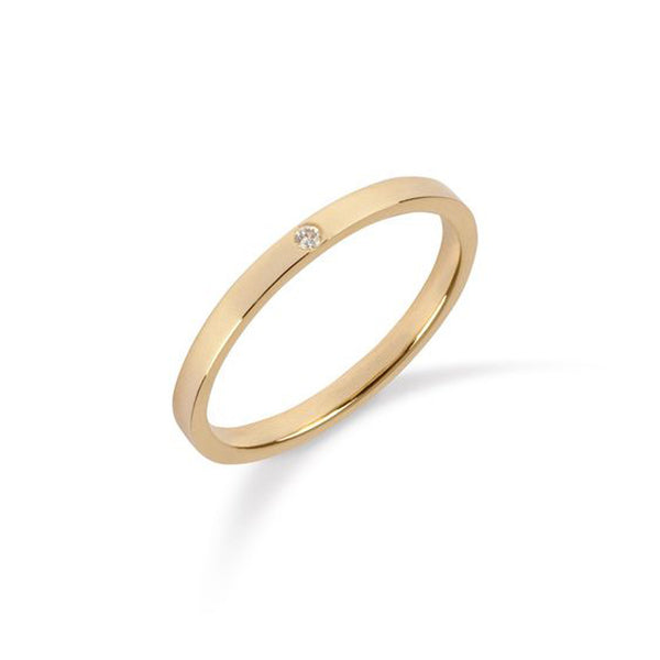 9kt Yellow Gold Single Diamond Ring