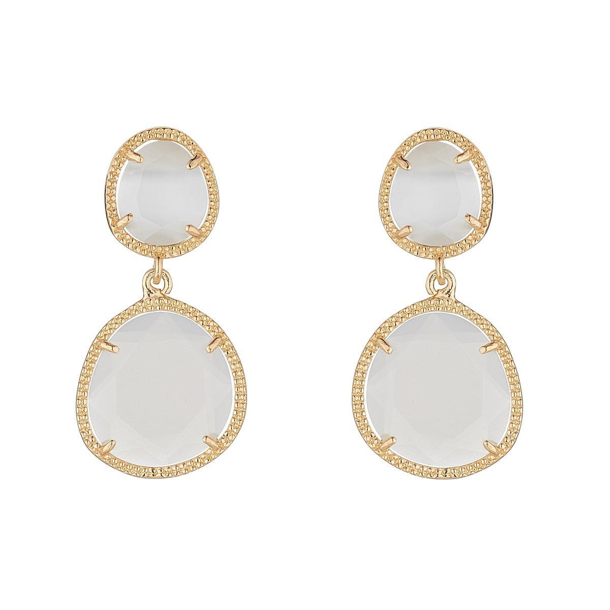 Blush White Glass Double Drop Earrings