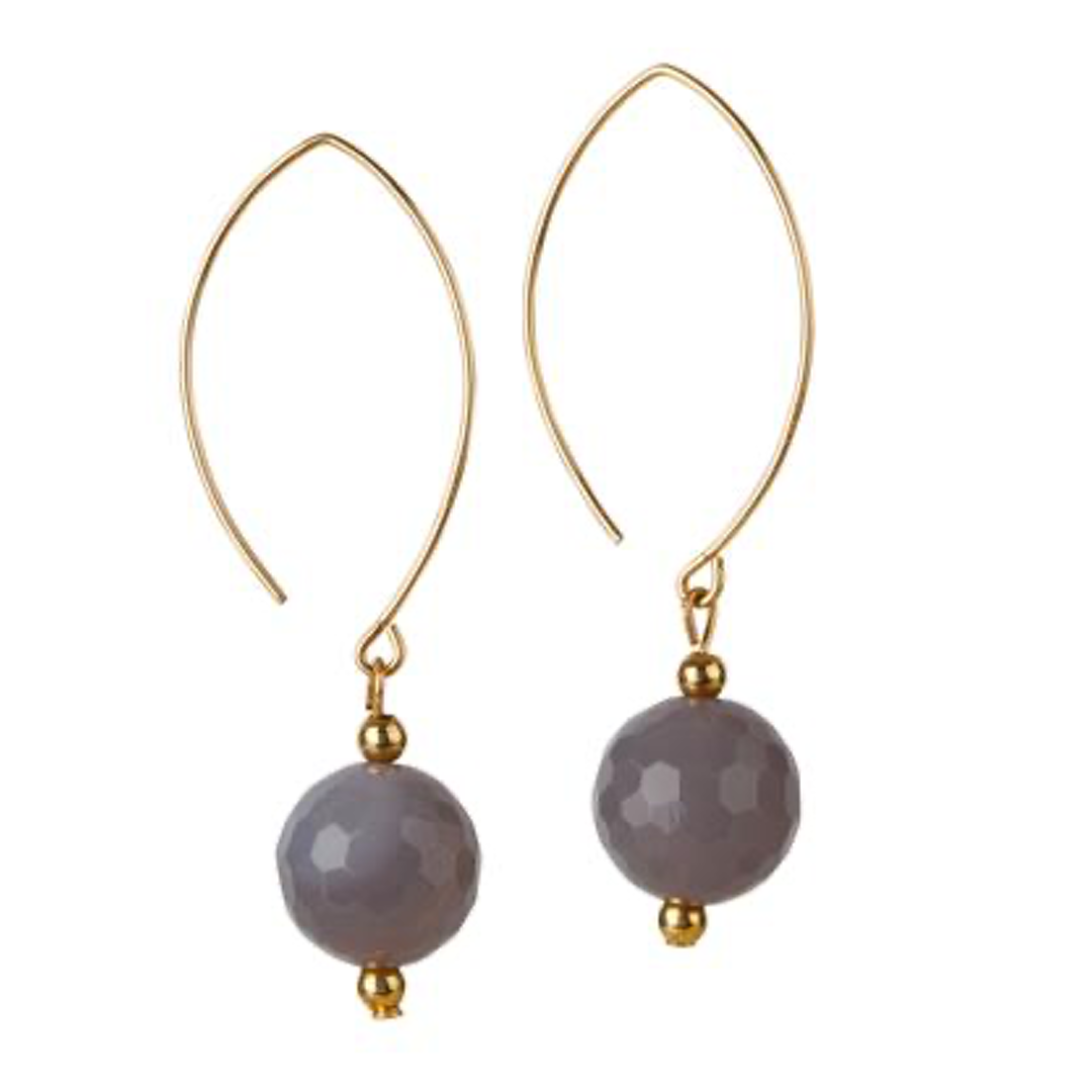 14kt Gold Filled Grey Agate Oval Open Earrings