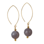 Load image into Gallery viewer, 14kt Gold Filled Grey Agate Oval Open Earrings