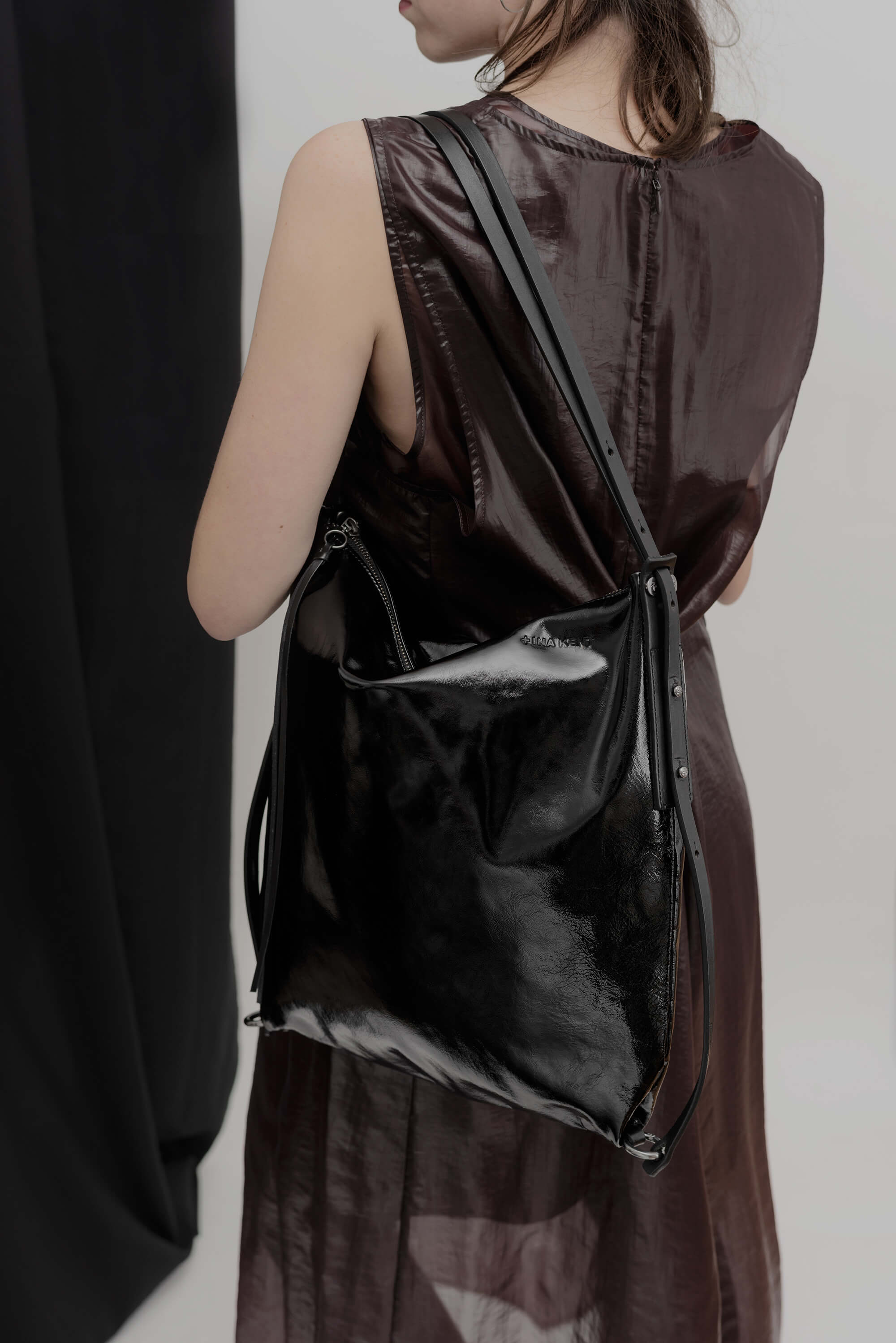 Ina Kent Patent Black Leather Handbag/Backpack - MoMuse Jewellery