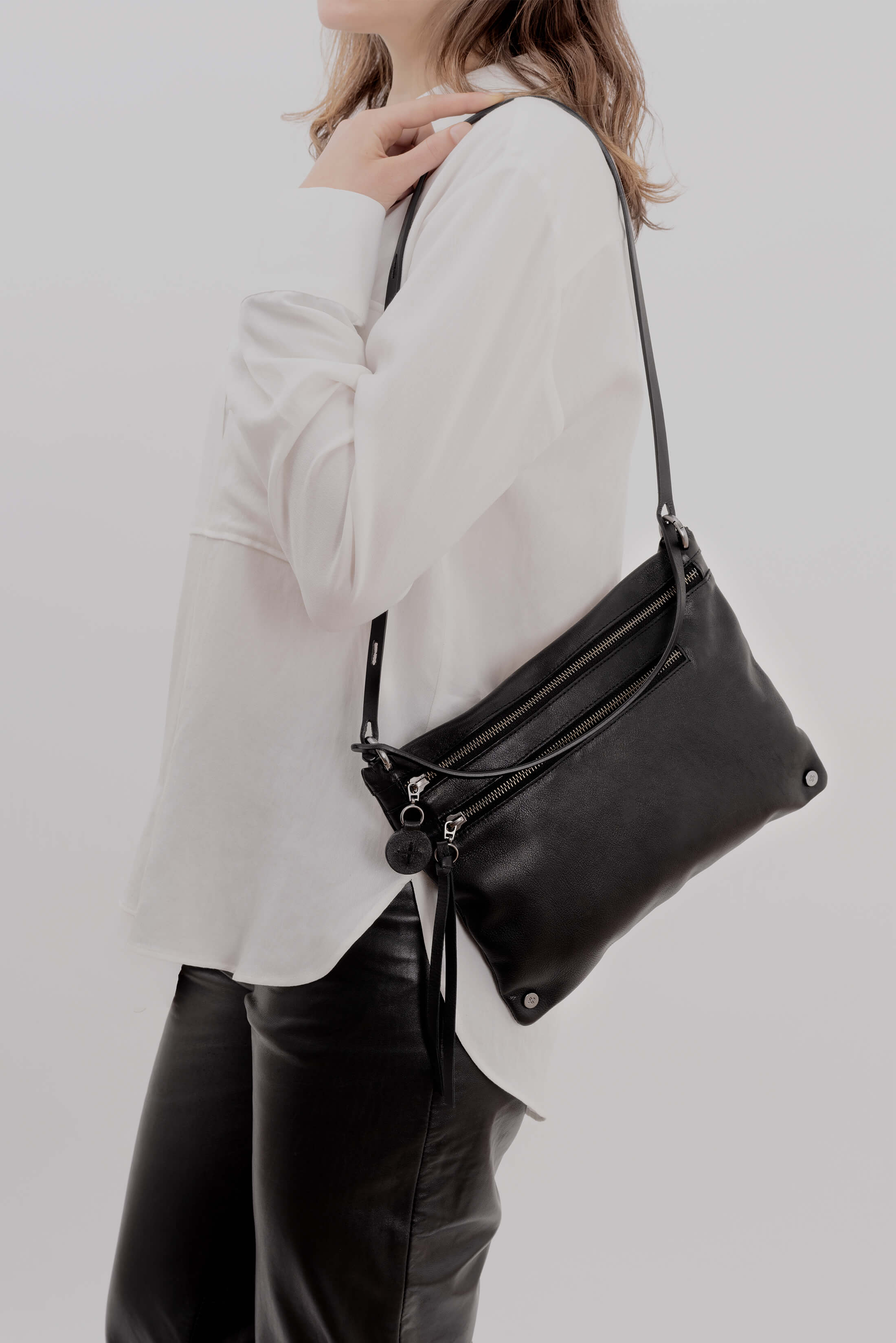 Ina Kent Crossbody Black Leather Handbag - MoMuse Jewellery
