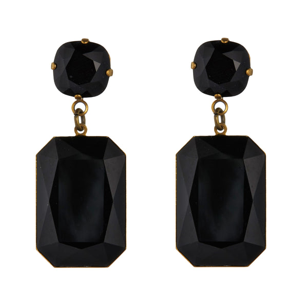 Black Swarovski Slab Earrings by Merle O'Grady