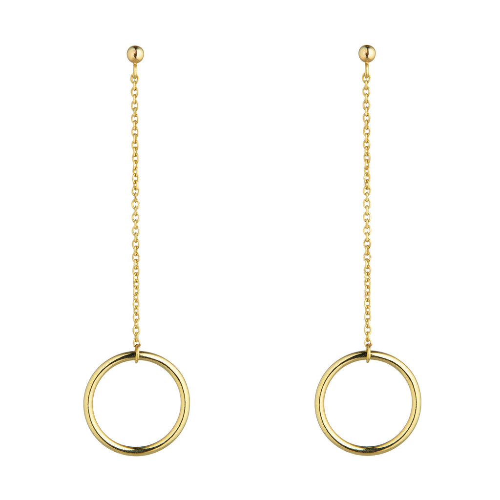 9kt Gold Circle Chain Drop Earrings - MoMuse Jewellery