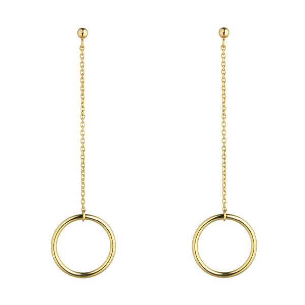 9kt Gold Circle Chain Drop Earrings