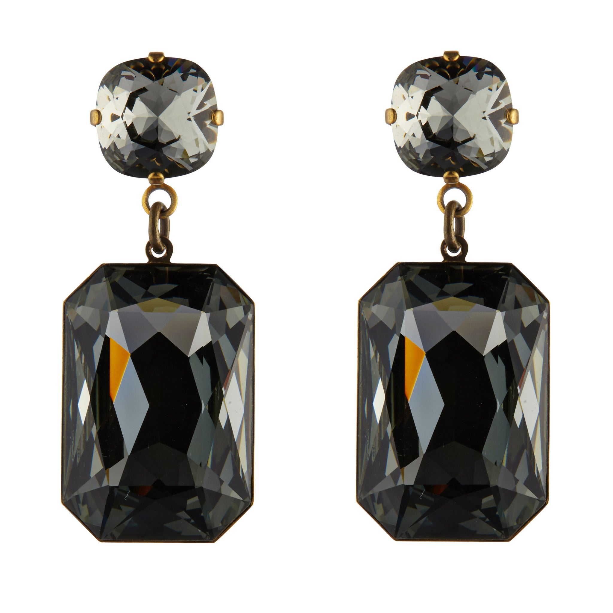 Large Grey Swarovski Slab Earrings by Merle O'Grady - MoMuse Jewellery