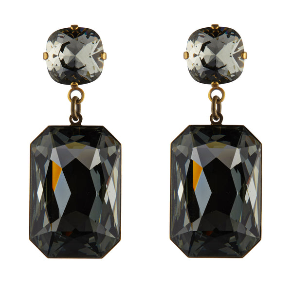 Grey Swarovski Slab Earrings by Merle O'Grady