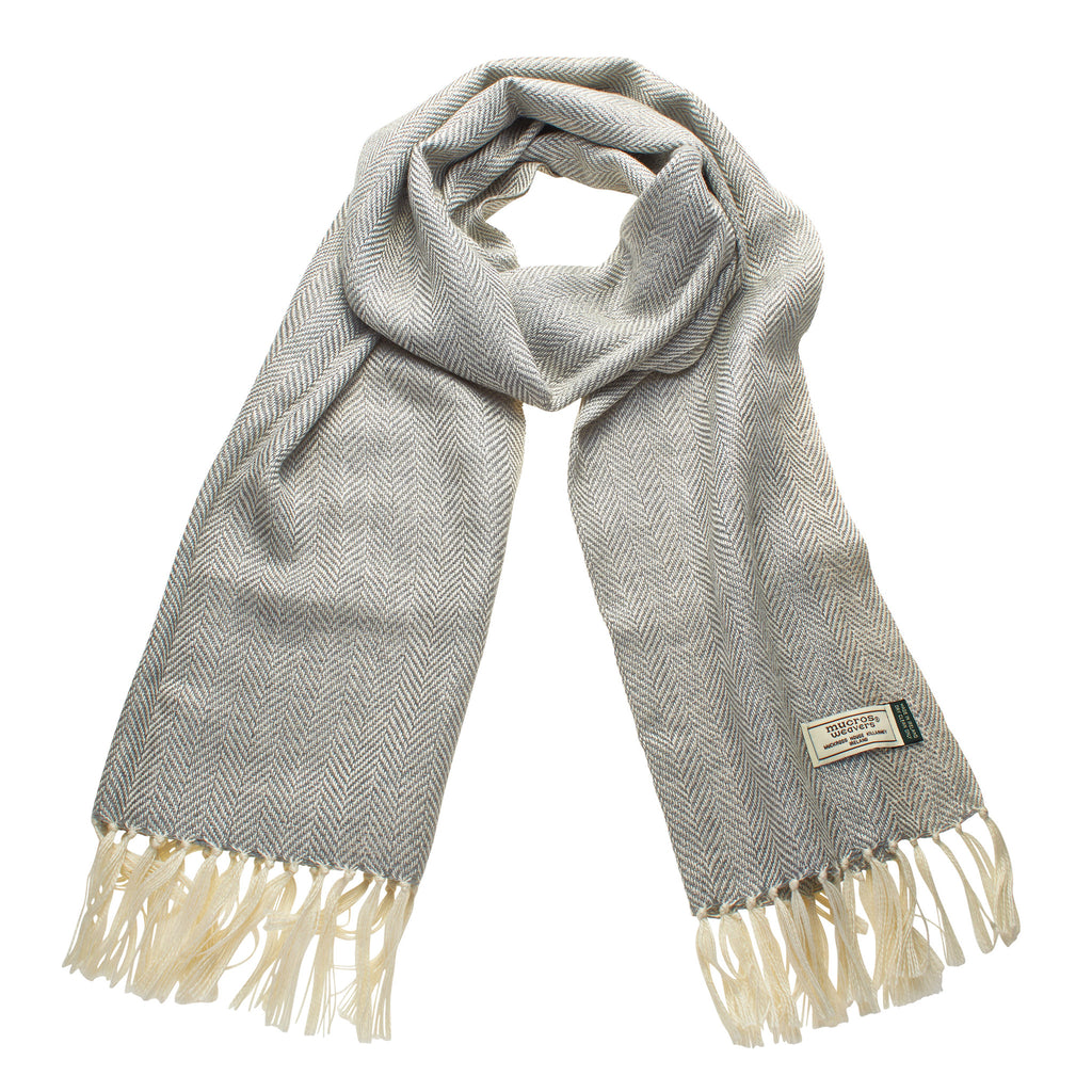 Mucros Weavers Alpaca and Silk Scarf Mid Grey - MoMuse Jewellery