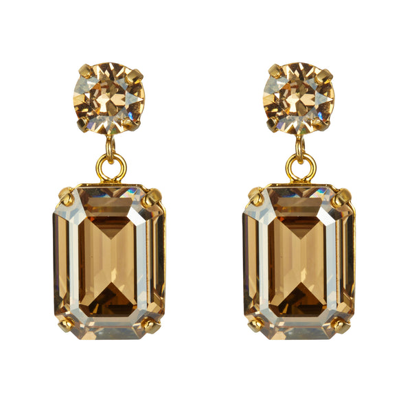Golden Shadow Mini Swarovski Slab Earrings by Merle O'Grady