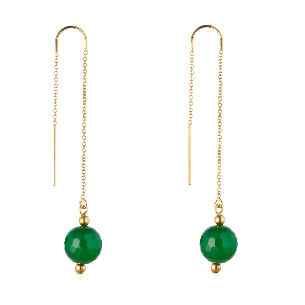 14kt Gold Filled Green Agate Threader Earrings - MoMuse Jewellery