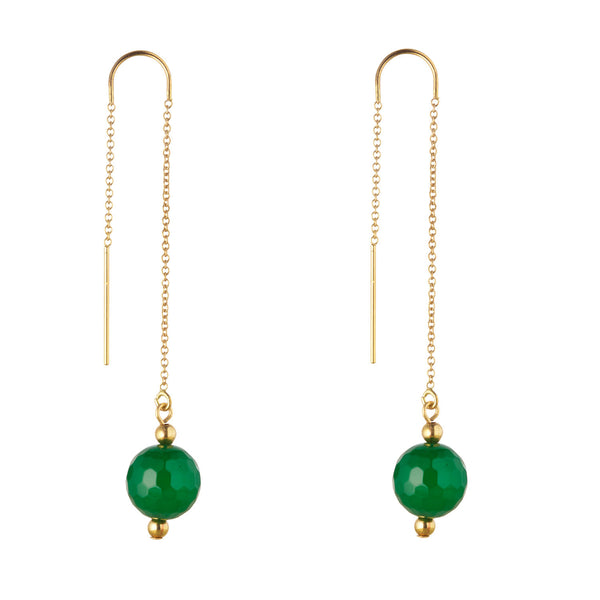 14kt Gold Filled Green Agate Threader Earrings