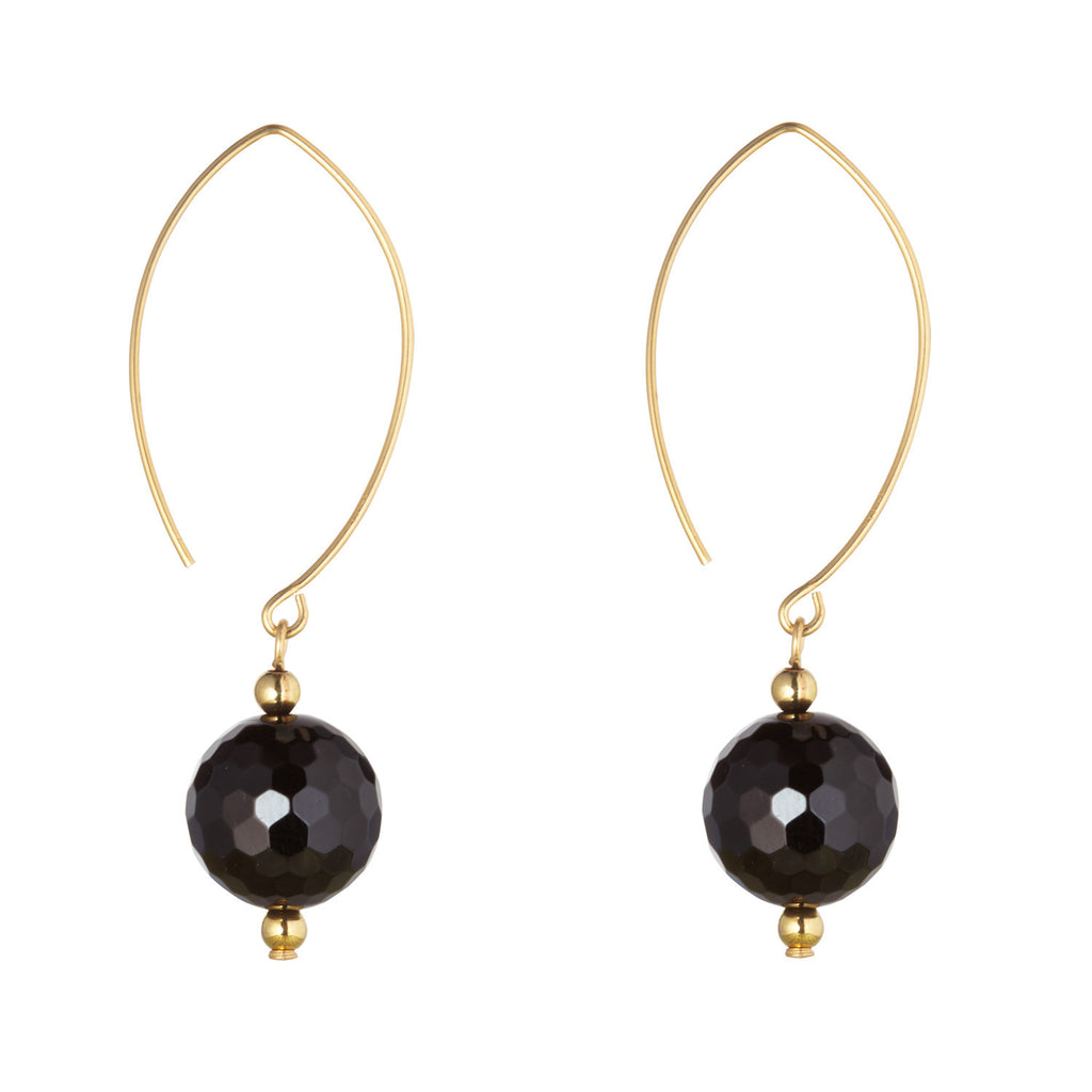 Oval Open Black Onyx Earrings
