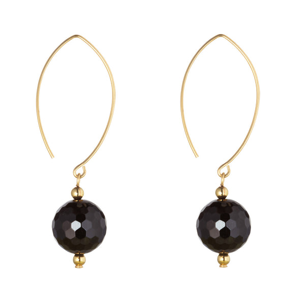 14kt Gold Filled Oval Open Black Onyx Earrings