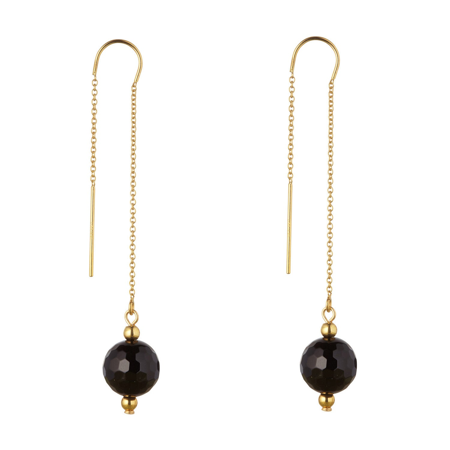 14kt Gold Filled Black Onyx Threaders Earrings - MoMuse Jewellery