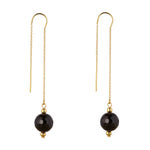 Load image into Gallery viewer, 14kt Gold Filled Black Onyx Threaders Earrings - MoMuse Jewellery