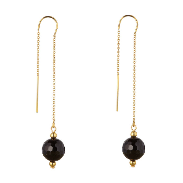 14kt Gold Filled Black Onyx Threaders Earrings