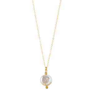 14kt Gold Filled Petite Coin Pearl Necklace - MoMuse Jewellery