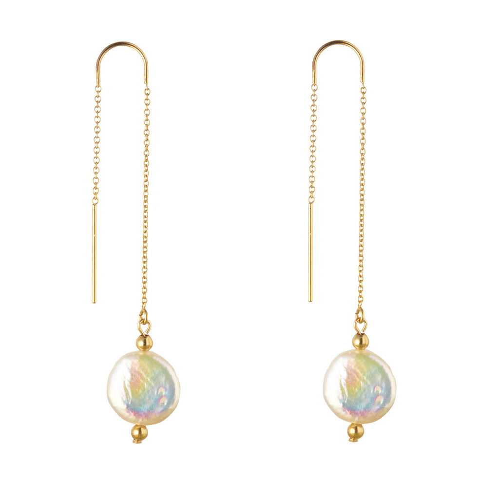 14kt Gold Filled Coin Pearl Threader Earrings - MoMuse Jewellery
