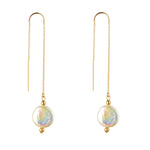 Load image into Gallery viewer, 14kt Gold Filled Coin Pearl Threader Earrings - MoMuse Jewellery
