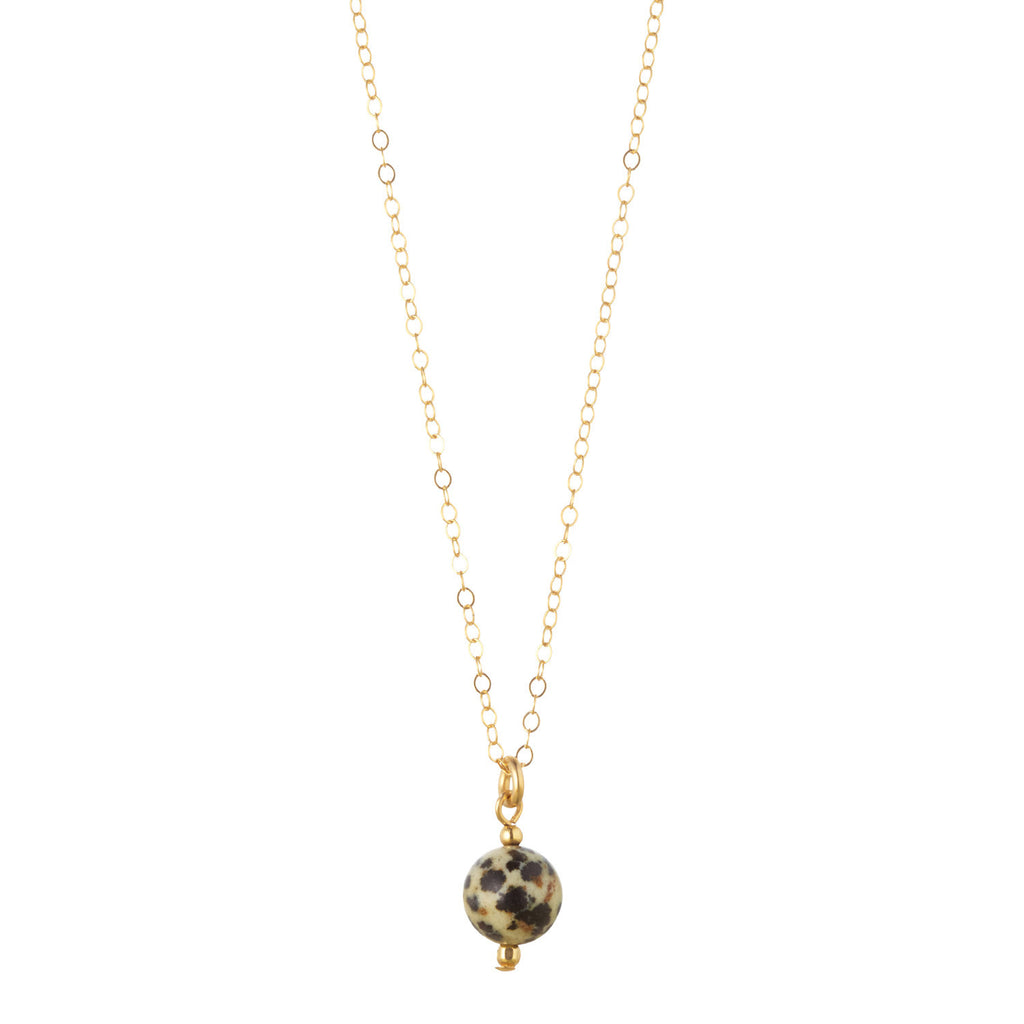 14kt Gold Filled Petite Dalmation Jasper Necklace - MoMuse Jewellery